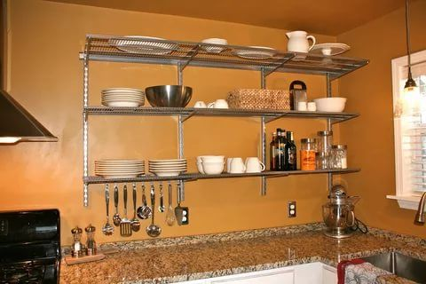 23 Stunningly Corner Shelf Ideas A Guide For Housekeeping Metal Kitchen Shelves Complete Kitchen Design Kitchen Wall Hangings