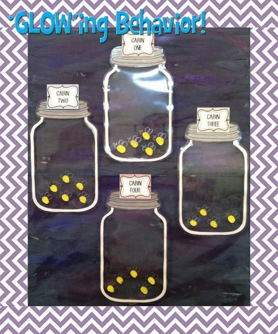 "Glowing Behavior- This is another fun themed idea for keeping track of table points.  Divide your students into cabins and as they behave well they can ""catch"" fireflies in their jars."