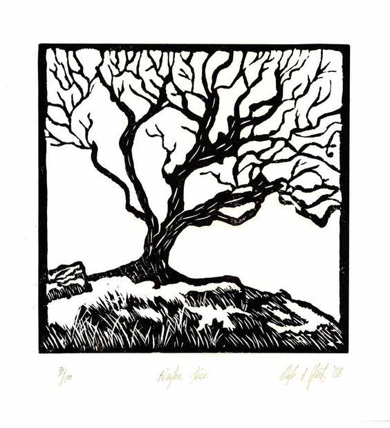 Winter Tree - Original Lino Block Print.. $25.00, via Etsy.