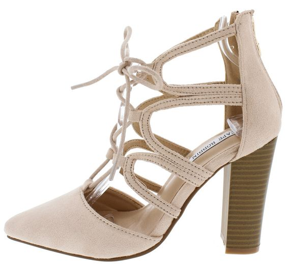 BEAUTIFUL1 NUDE POINTED TOE LACE UP CHUNKY STACKED HEEL ONLY $10.88