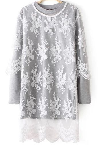 Grey Long Sleeve Sheer Lace Two Pieces Dress 20.83