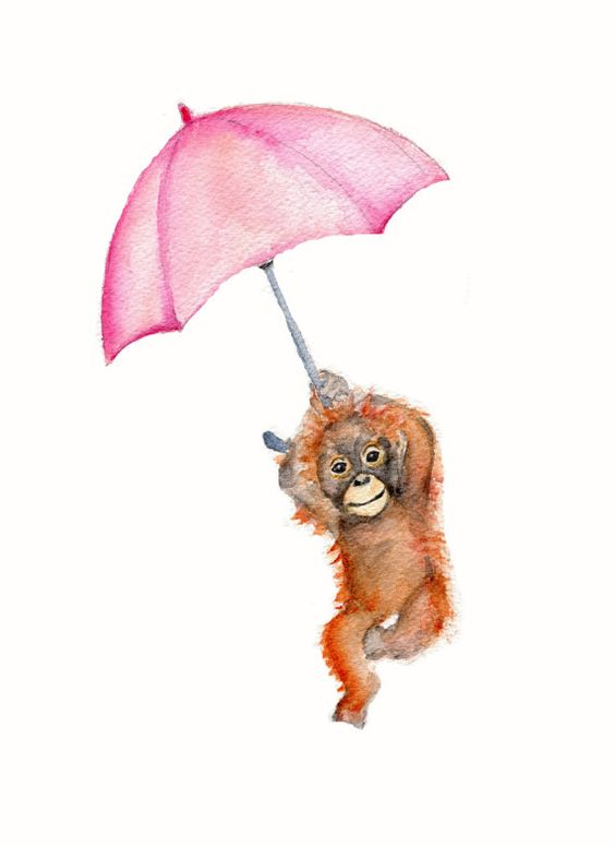 Monkey with pink umbrella-Watercolor print 8 by Marysflowergarden