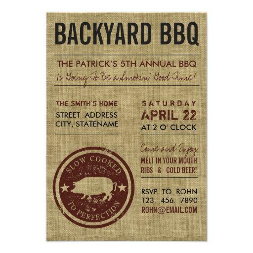 Pig Roast BBQ Party Invitations - Custom