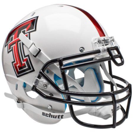Texas Tech Red Raiders White with Red Stripe Schutt XP Authentic Helmet - Alternate 5
