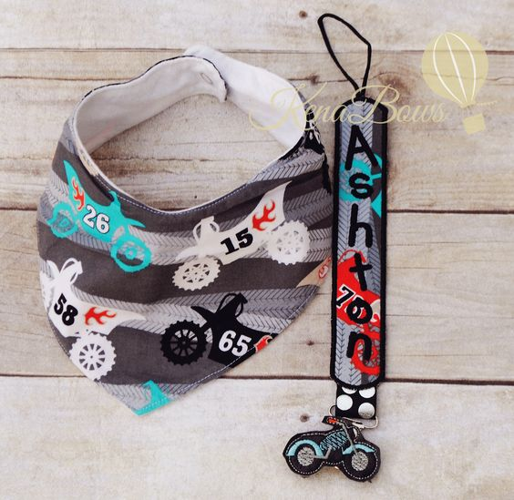 Motorcycle Bandana Bib, Baby Boy Bib, Dirt Bike, Personalized Pacifier Clip, Baby Shower Gift, 1st Birthday Boy by KenaBows on Etsy https://www.etsy.com/listing/217912815/motorcycle-bandana-bib-baby-boy-bib-dirt