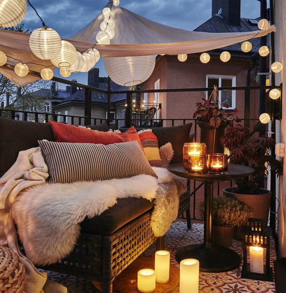 Beautifully-Lit Balcony Source: Ikea