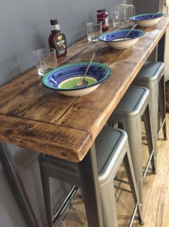 Table Bar Style Industriel En Metal Et Vieux Bois Recycle Mesa