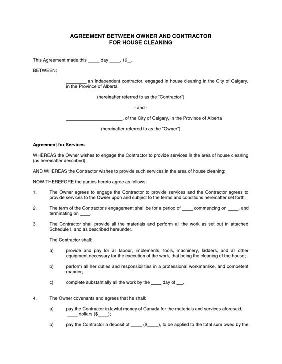 House Cleaning Contract Sample Learn more at http\/\/googl\/n1VNYk - business service agreement template