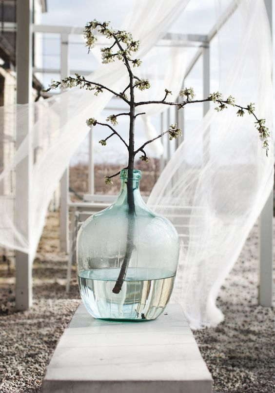Parisian glass bottle jug vase with branch. #parisian #frenchcountry #glassbottle #winejug