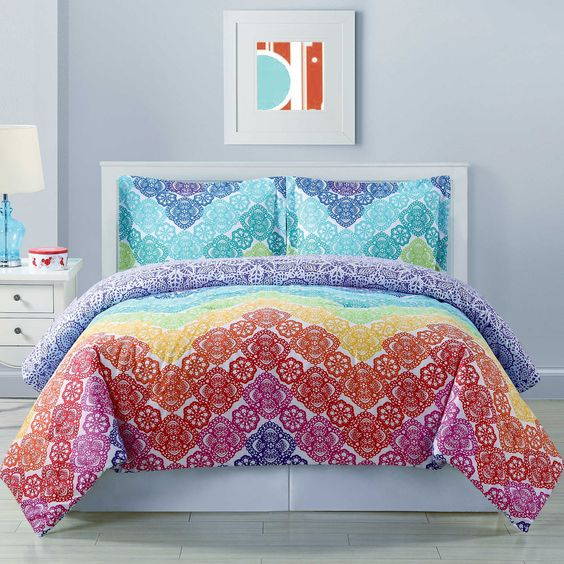 Microfiber Towels Bed Bath And Beyond: Lace Chevron Reversible Comforter Set In Rainbow