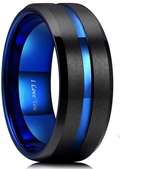 Wasolie Tungsten Carbide Wedding Ring Engagement Band For Men