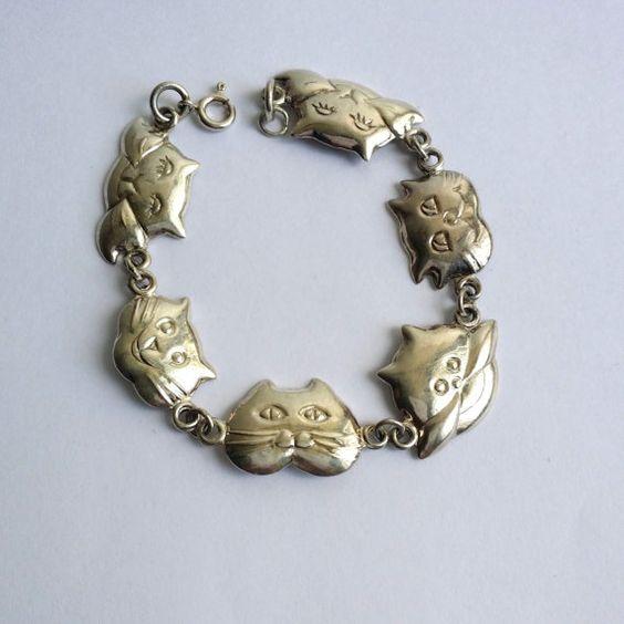 Cute Vintage 925 Sterling Silver Cat Kitty Happy Faces Link Bracelet