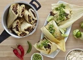 Try these amazing coffee rubbed carnitas tamales con salsa verde
