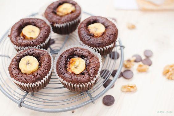 Sabores de colores: Brownies de chocolate negro, plátano y nueces