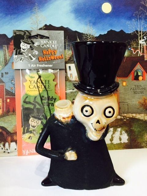 Rare 2008 Headless Boney Bunch Skeleton Yankee Candle Holder Halloween +Gift