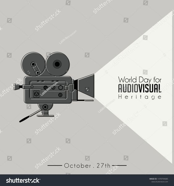 World Day For Audio Visual Heritage With Classic Vintage Camcorder Old Movie Camera Vector Image Theme World Days Heritage
