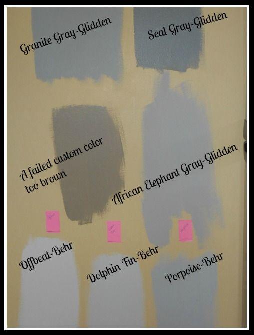 Gray paint samples, Glidden African elephant gray, Glidden ...