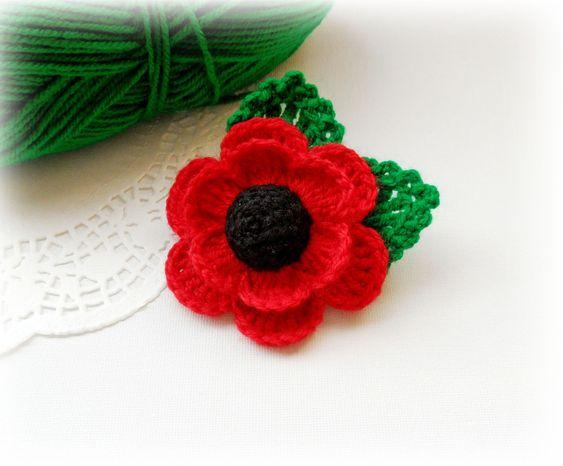 Hakeln Sie Mohn Gedenktag Rote Mohnblume Corsage Brosche Etsy Crochet Poppy Remembrance Day Poppy Crochet Poppy Pattern