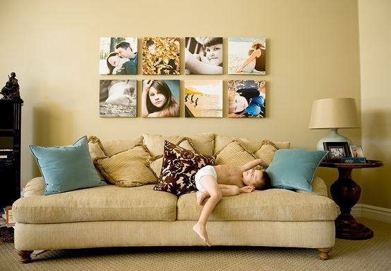 8 squares- over the couch: Photo Display, Wall Idea, Photo Wall, Photography Display, Photo Canvas, Canvas Display, Display Ideas, Wall Display