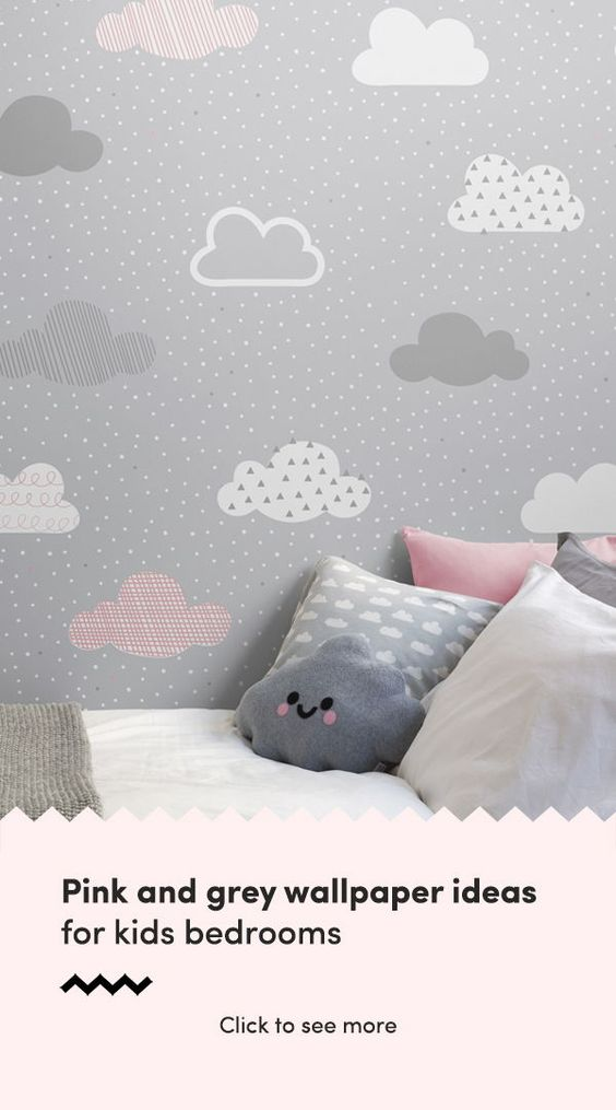 Pink Grey Cloud Pattern Wallpaper Mural Hovia Uk Childrens Bedroom Wallpaper Pink And Grey Wallpaper Pink Bedroom Decor Bedroom wallpaper ideas pink and grey