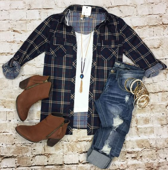 Penny Plaid Flannel Top: Navy/Ivory from privityboutique