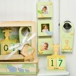 Baby on Safari - Handpainted Wood Gift Set in Keepsake Shadow Box