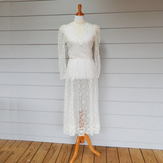 Vintage Lace Dress Sheer Lace Dress Ivory Lace by FairfaxDavis