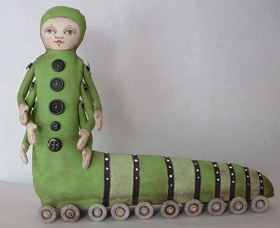 cartbeforethehorse: Katie Pillar-- Contemporary Folk Art Caterpillar Doll