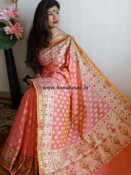 Banarasee/Banarasi Handloom Dual Tone Cotton Silk Mix Jamdani Sari-Peach