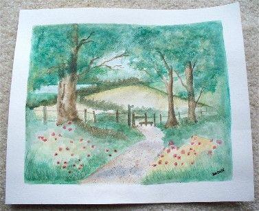 Poppy Lane Original Signed Watercolor Painting by justforfunbyjodi, $50.00