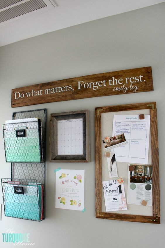 How To Tame The Paper Clutter: Industrial Farmhouse Command Center |  TheTurquoiseHome.com | Organization | Pinterest | Papeu2026
