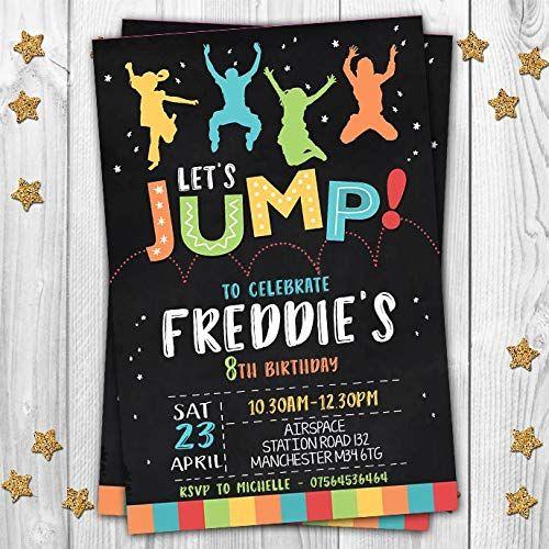 EnvelopesBirthday Invites Personalised JUMP Trampoline Party Invitations