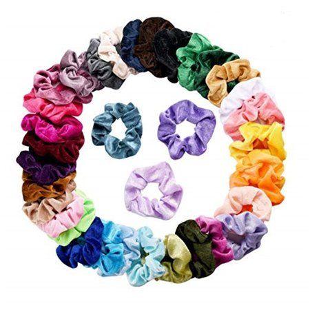 Elastic Hair Scrunchies 60 Velvet Hair Bands Soft Scrunchy Ties Ponytail Ropes