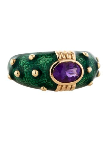 Hidalgo Amethyst and Green Enamel Ring