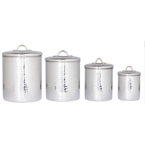 Old Dutch Stainless Steel Hammered Canisters (Set 4) - Overstock™ Shopping - Top Rated Old Dutch Storage Canisters