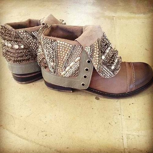 Embellished fold-over ankle boots. CLICK THIS PIN if you want to