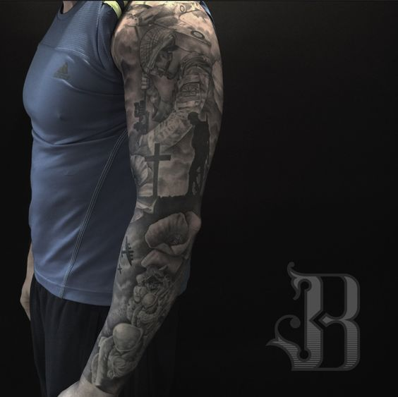 Remembrance day sleeve army sleeve quoets pinterest for Military sleeve tattoo