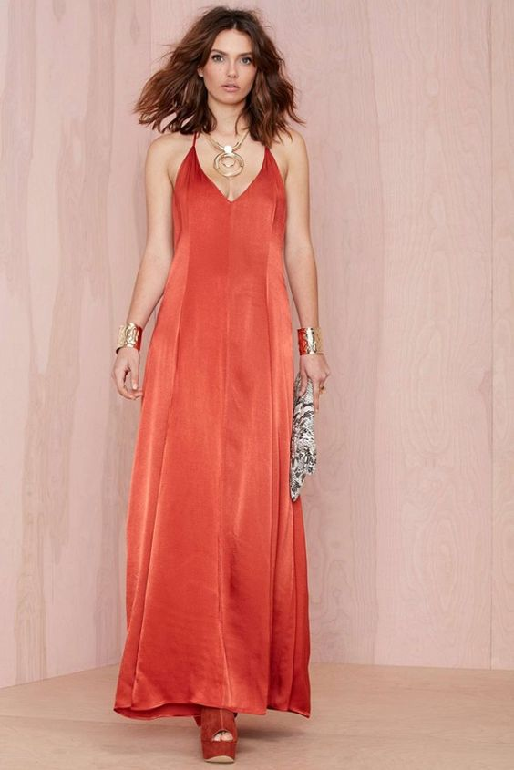 Get the dress Sophia Amoruso wore to the grand opening party. // Nasty Gal After Party Vintage Dream On Maxi Dress in red