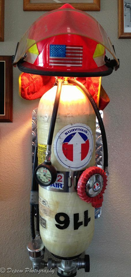 Firefighter Living Room Decor: #DIY #Firefighter Idea: Recycle A Old SCBA Bottle And