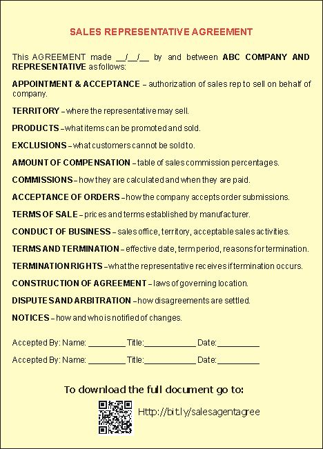Sales Representative Agreement Template - This image shows an - employment arbitration agreement