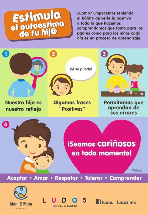 """Hola: Compartimos una infografía sobre """"Como Estimular la Autoestima en los Niños"""". Un gran saludo.  Elaboración: ludos.mx  Enlaces de interés: 4 Dimensiones de la Educación Emocional C..."""