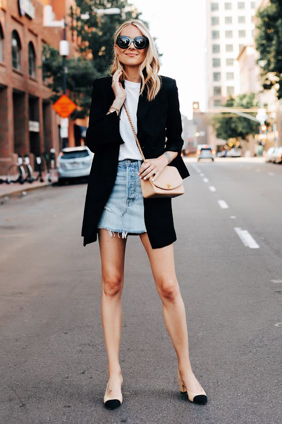 Denim skirt and white tee with long oversized black blazer and heels / via fashion Jackson