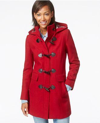 Tommy Hilfiger Plaid-Trim Wool Duffle Coat - Coats - Women