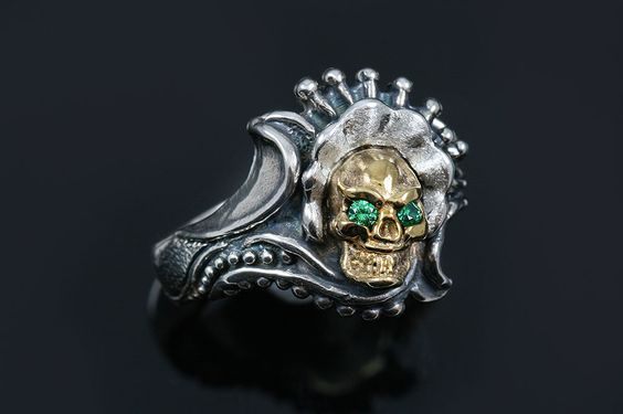 Antaneli Green CZ Eyed Bronze Skull Oxidized Silver Ring LR-133