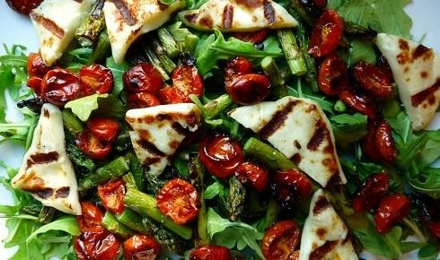Chargrilled Asparagus with Roasted Cherry Tomatoes and Haloumi Cheese...