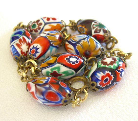 Vintage Millefiori Beads Bracelet, Venetian, Italy 1960s Millefiore Jewelry