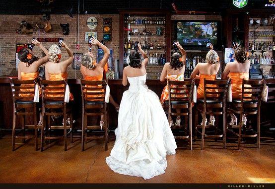 bride & bridesmaids at the bar... soooo funny!