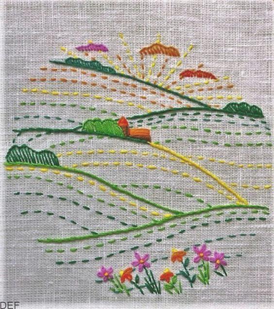 Flor de Verano Cottage Kit Punto De Cruz Bordado Costura paisaje Craft NUEVO