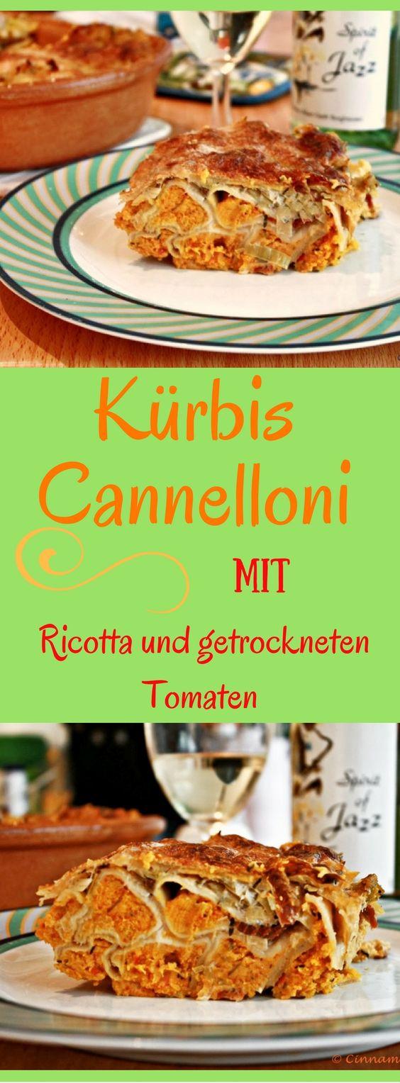 Kürbis Cannelloni mit Ricotta und getrockneten Tomaten
