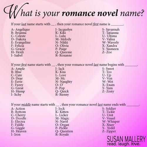 Romance Novel Name Susan Mallery Thanks Shared This Game On Her Wall Last Year It S Way Too Much Fun Laughing Funny Names Funny Name Generator Names